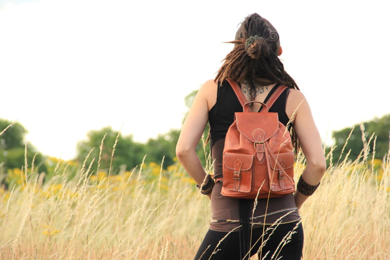 Tan Womens Leather Backpack Leather Rucksack Shoulder Bag Leather Bag Leather Pouch Leather Satchel Fashion Backpack Girls Backpack