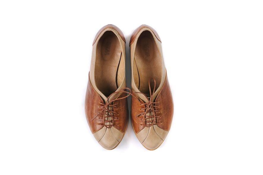 women Oxford shoes, flat brown shoes - MYKAshop