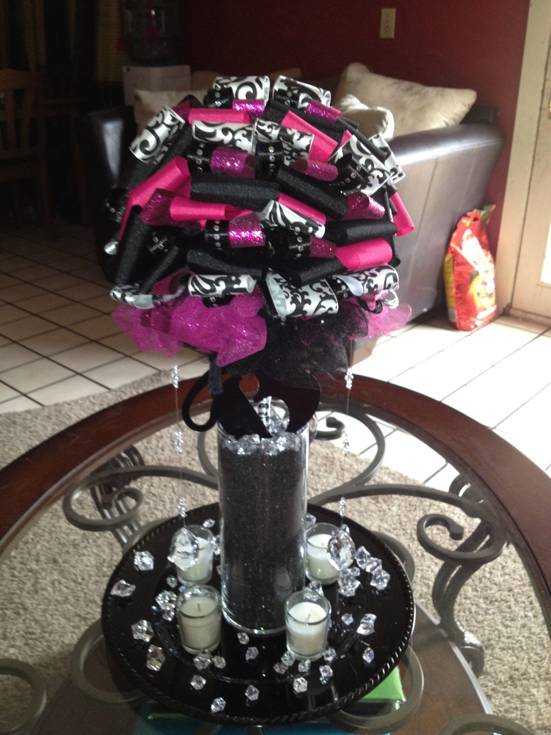 Items similar to hot pink and black wedding centerpieces
