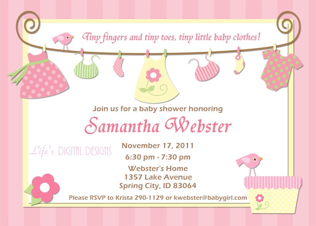 Baby Shower Invitations for Girl Baby by LifesDigitalDesigns