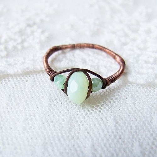 milky stacking ring - wire wrapped copper milky mint rustic stacking ring - KicaBijoux