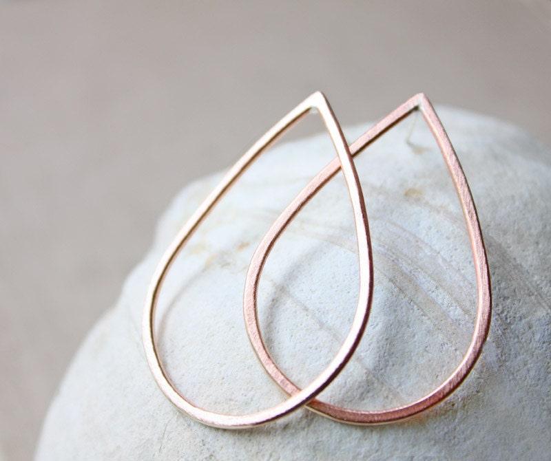 rain drop copper teardrop earrings, large hoop, metalwork jewelry, posts studs, modern minimal - ElisabethSpace