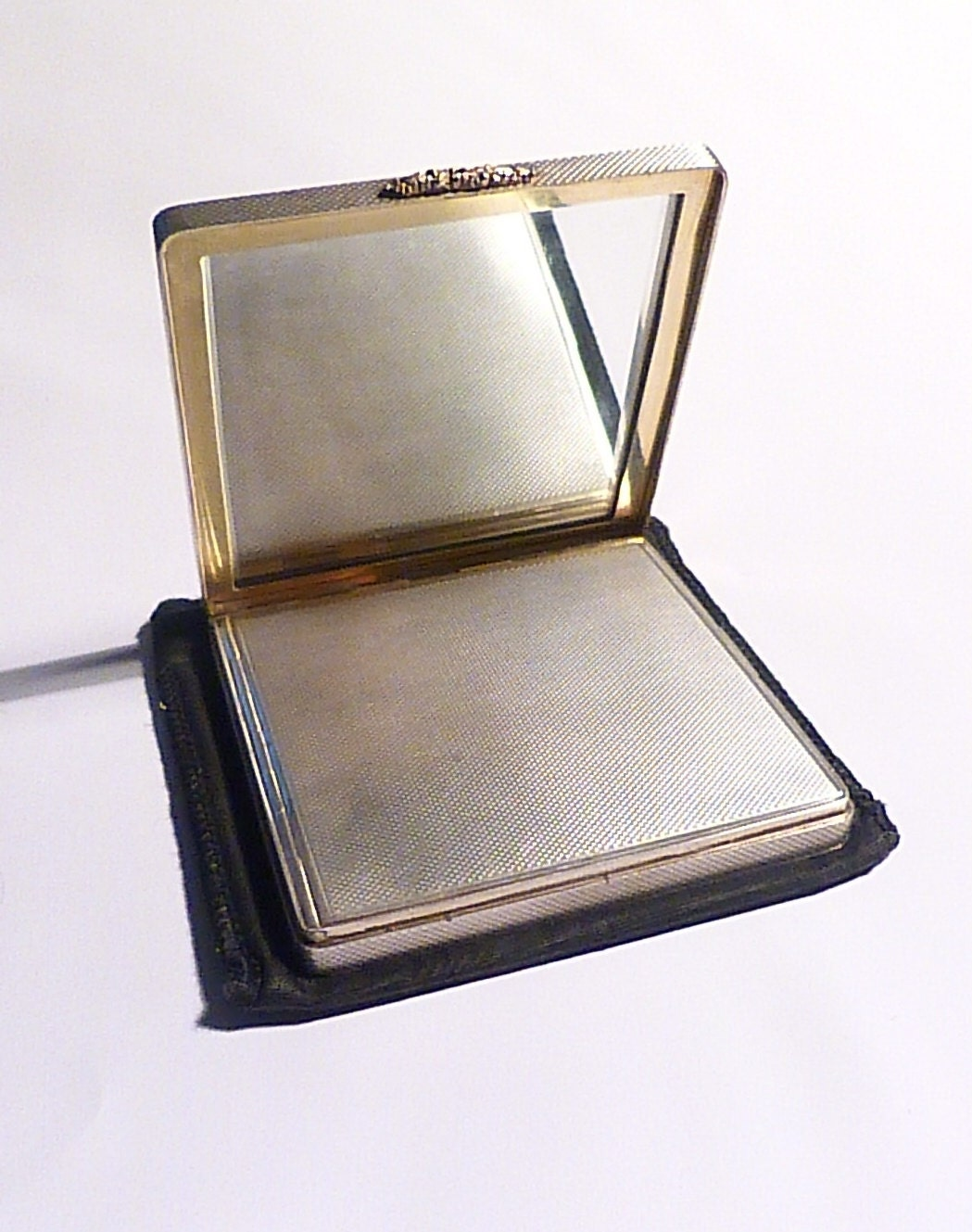 Antique silver wedding gifts 25th anniversary gifts for her sterling silver W H MANTON rose gold thumb catch powder compact