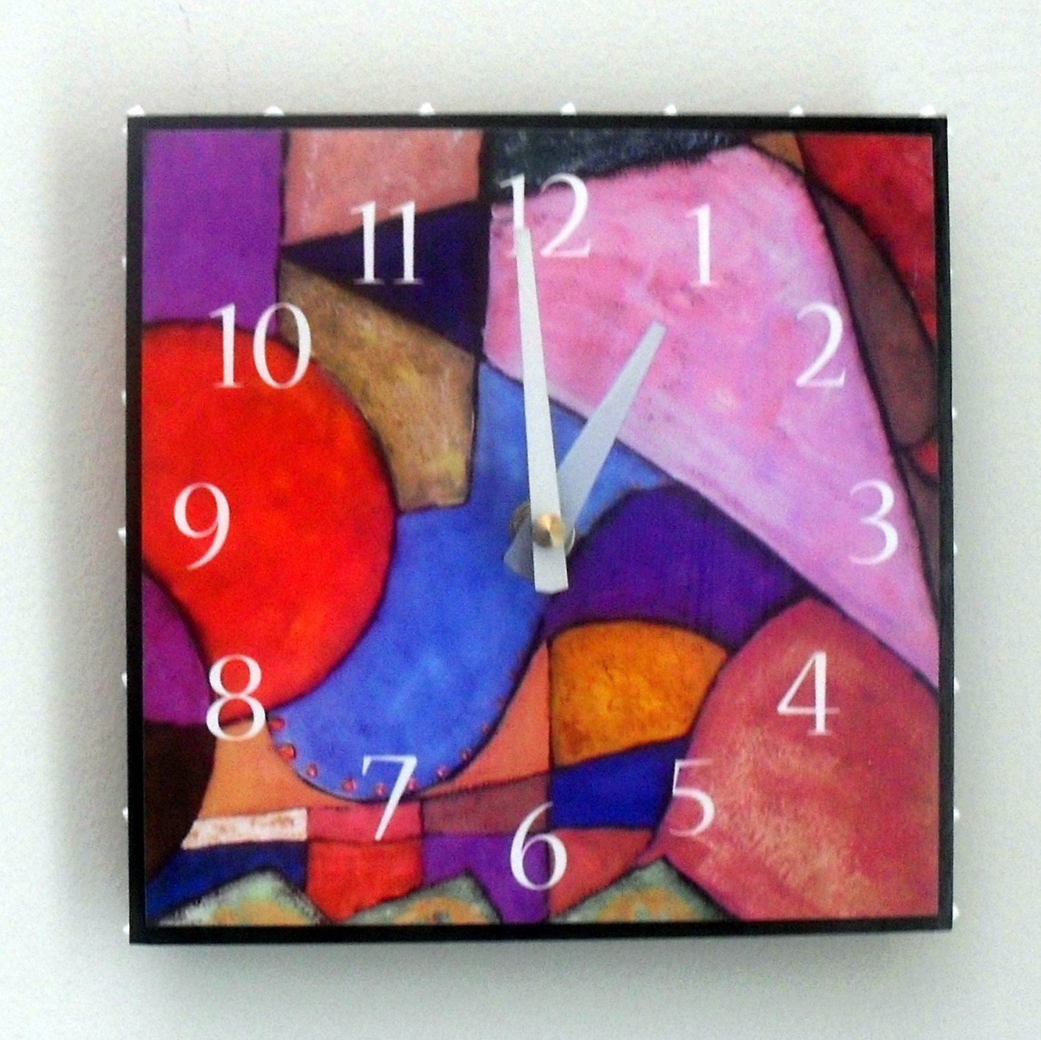 Abstract Geometric Shape Clock, Functional Art, Colorful Clock, Artistic, Triangle, 6 x 6 inches square - MechelleDesigns