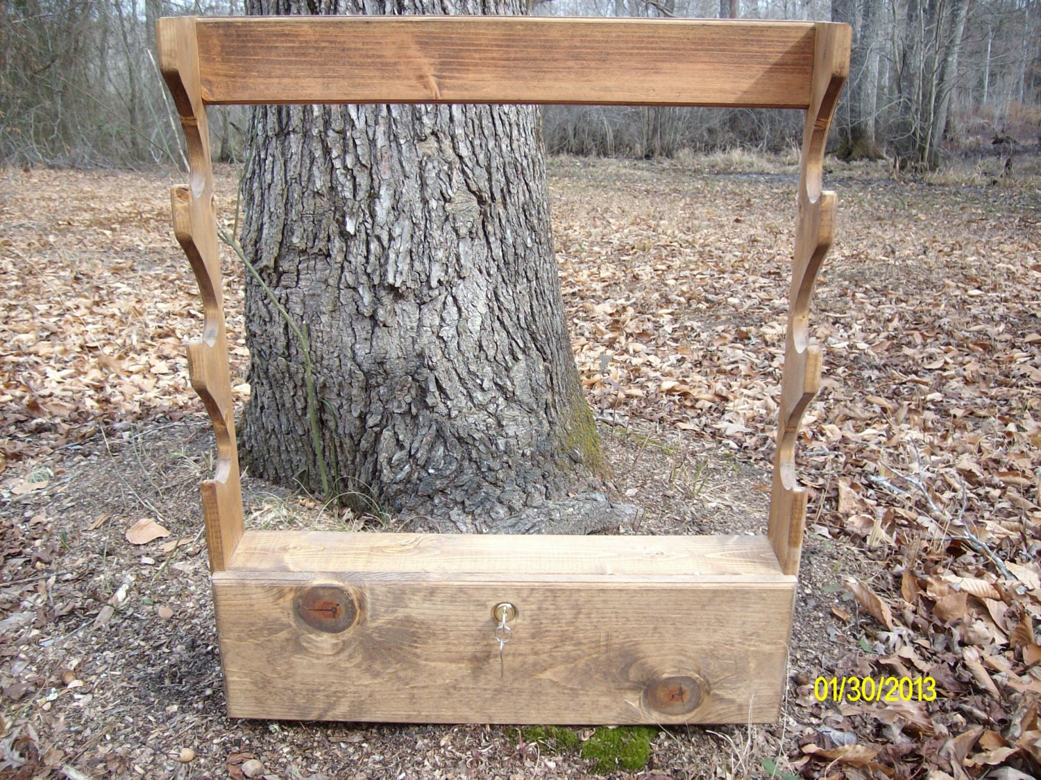 Solid pine rustic looking 3 gun rack w locking by wirtleywoo
