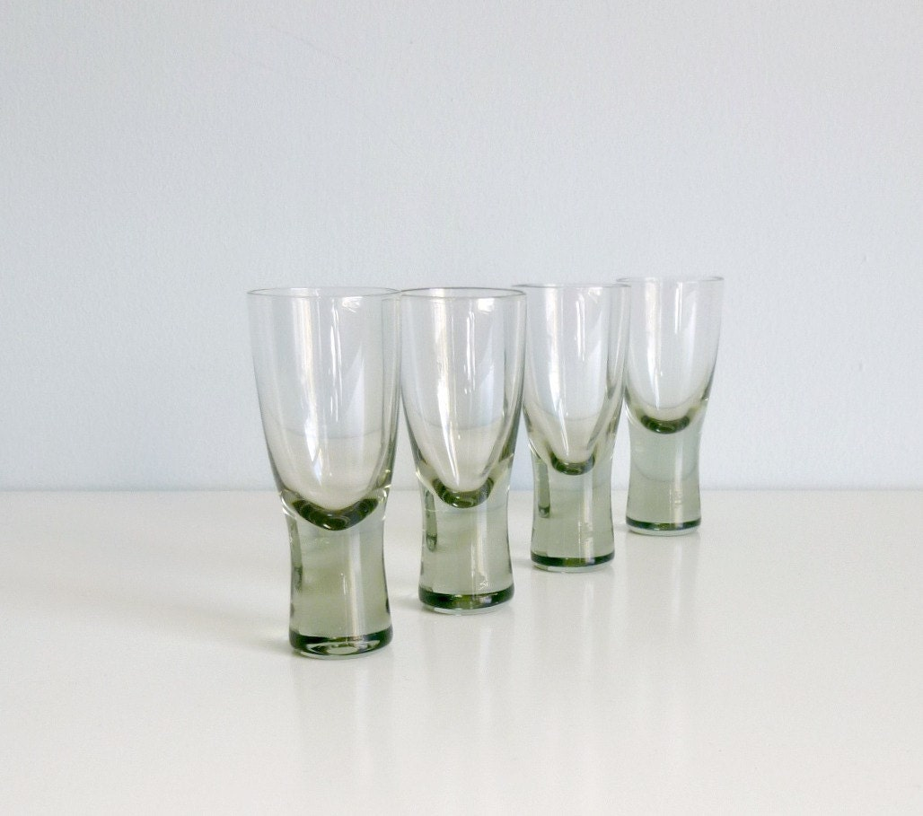 Mid Century Modern Glasses x4 - Shot, Schnapps, Shooter - 'Canada', Per Lutken, Holmegaard Denmark - Mad Men, 1950's glassware, Eames Panto - mungoandmidge