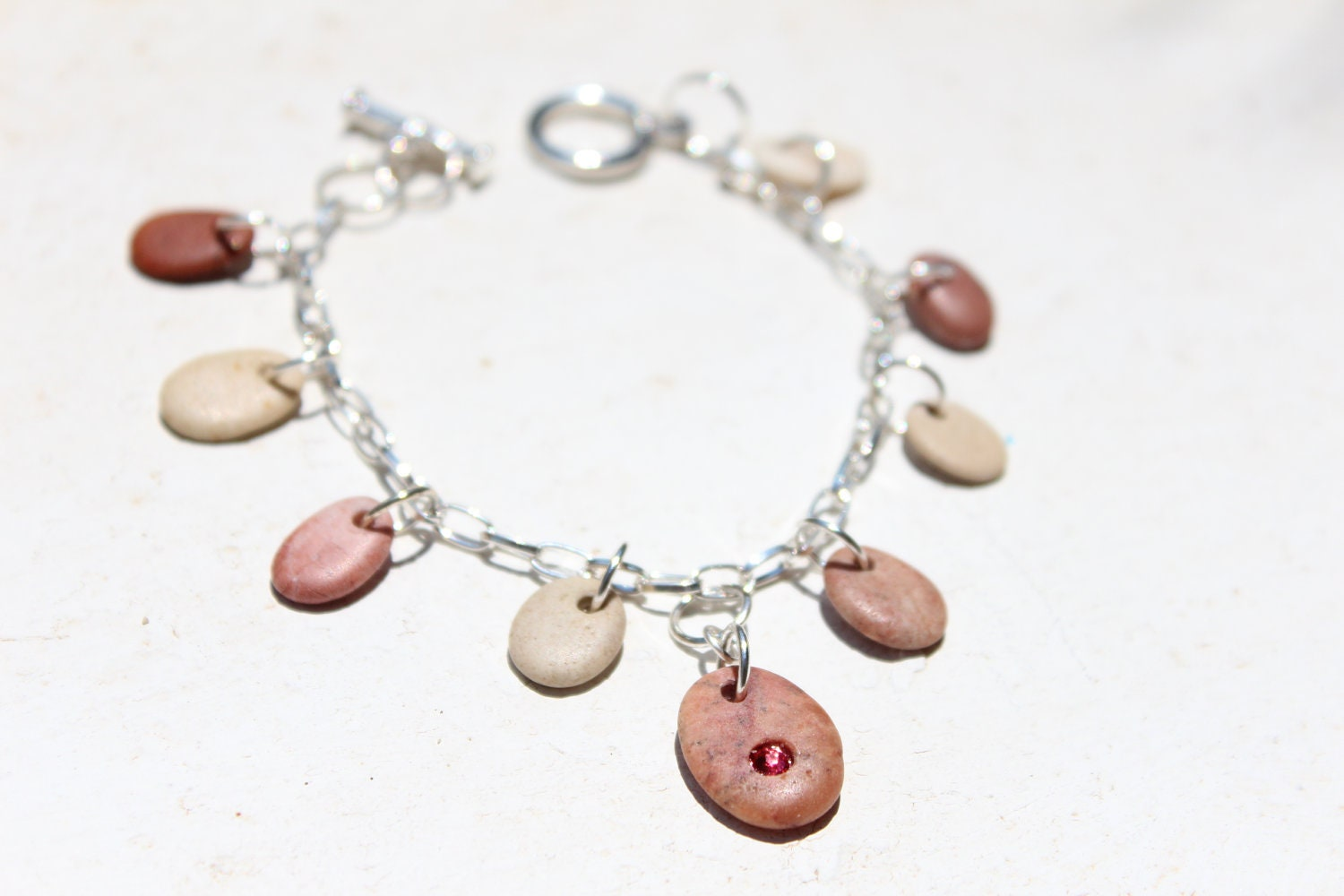 pebble charm bracelet pebble jewelry