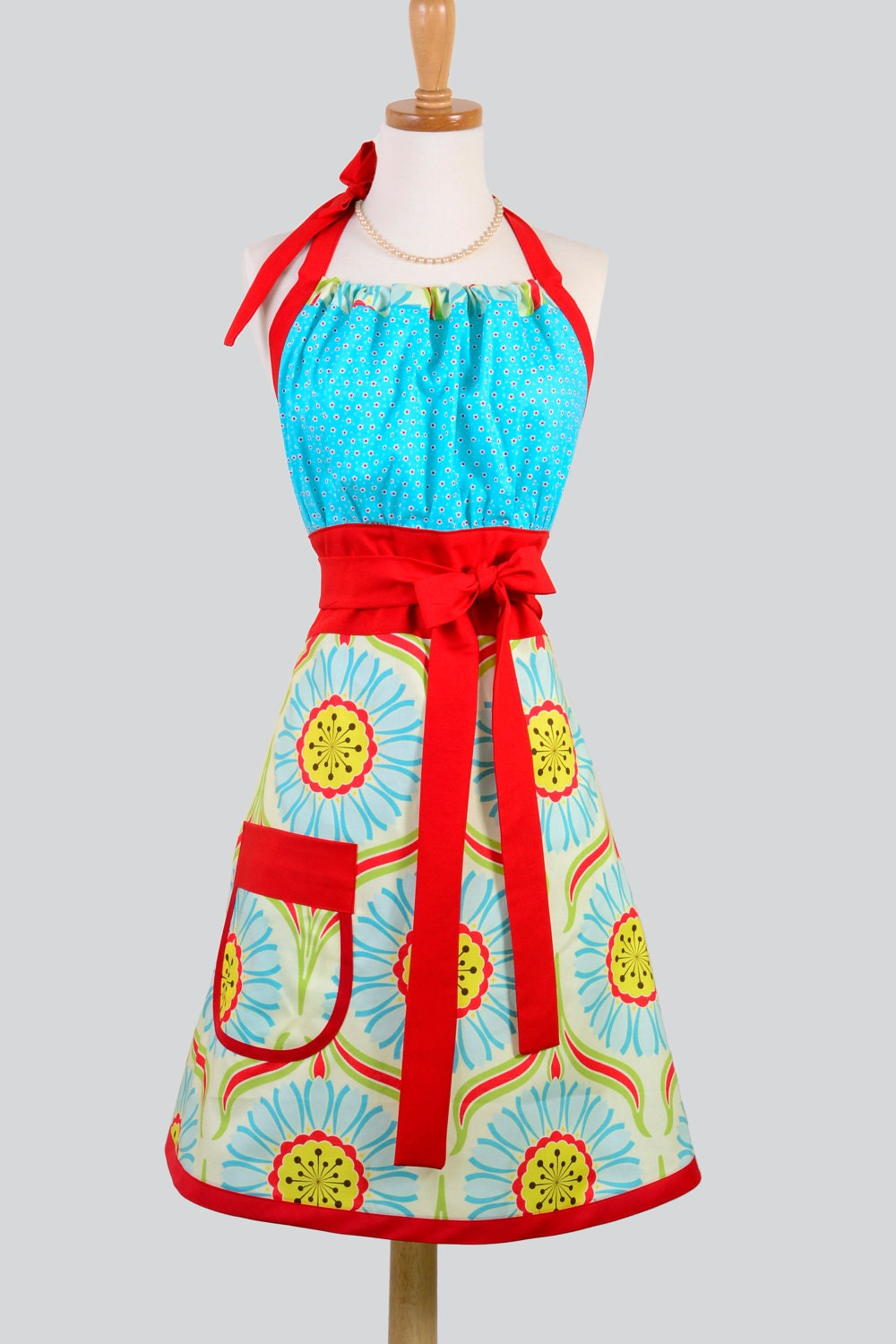Cute Kitsch Apron / Red and Aqua Mix it up In Heather Bailey Pop Garden and Michael Miller Blue and Red