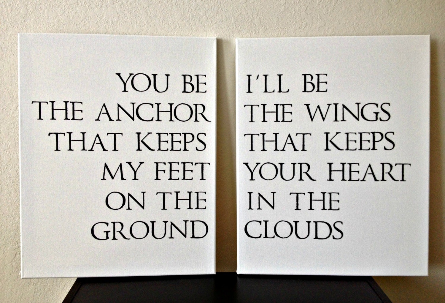 16x20inch Quote on Canvas - You Be The Anchor That Keeps My Feet On The Ground, I'll Be The Wings That Keeps Your Heart In The Clouds - DreamLoveBoutique