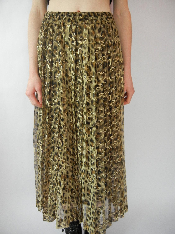 vintage leopard print midi skirt size by littleraisinvintage