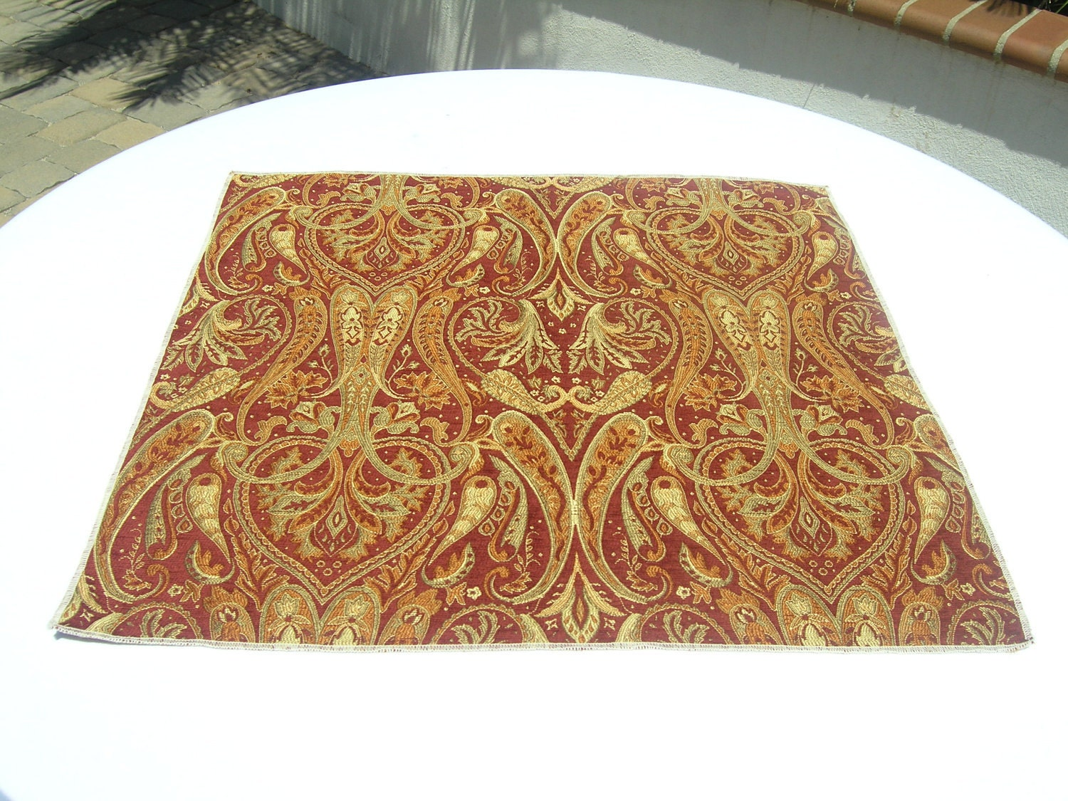 Burgundy Taupe Gold Home Decor Fabric by SimplySweetNothings
