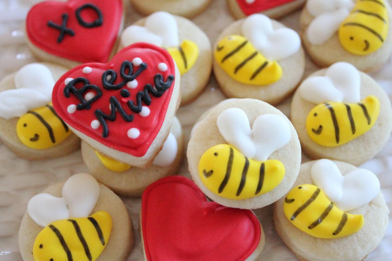 Bee My Valentine Cookie Nibbles - 3 dozen  Valentine Mini Cookies - CraftedCookies
