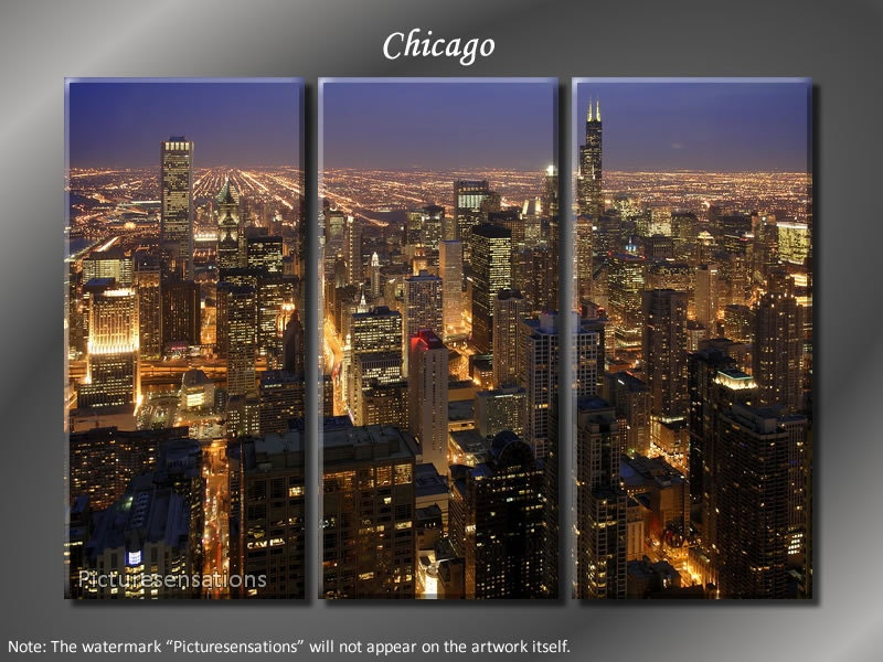Chicago Skyline By Preston Ready To Hang Canvas Wall Art