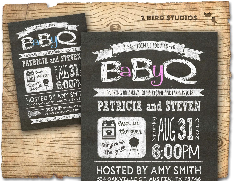 baby q baby shower invitation coed baby shower by 2birdstudios