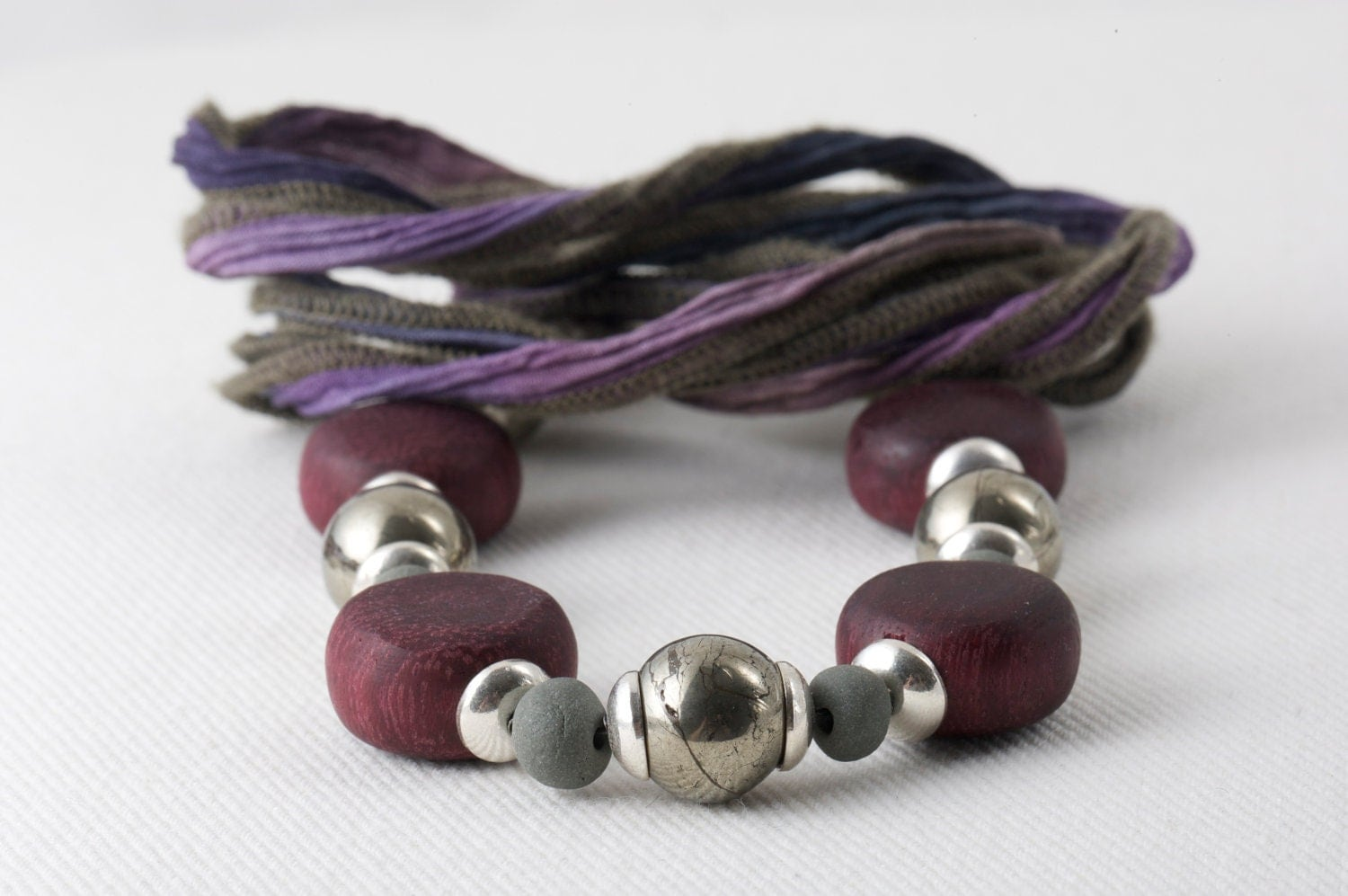 Purple Pyrite Ribbon Necklace Fall Plum Violet Ceramic Sterling Silver Wood Natural Green Gold - LoveActuallyJewelry