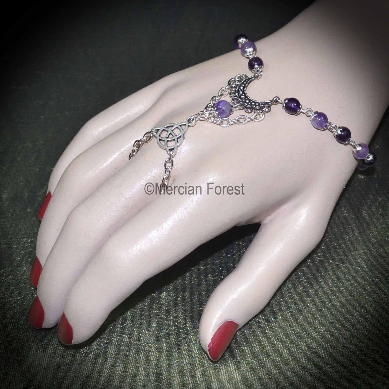 Luna Amethyst Pagan Bracelet Ring  Handmade Pagan Jewellery Wicca Witch Gemstone