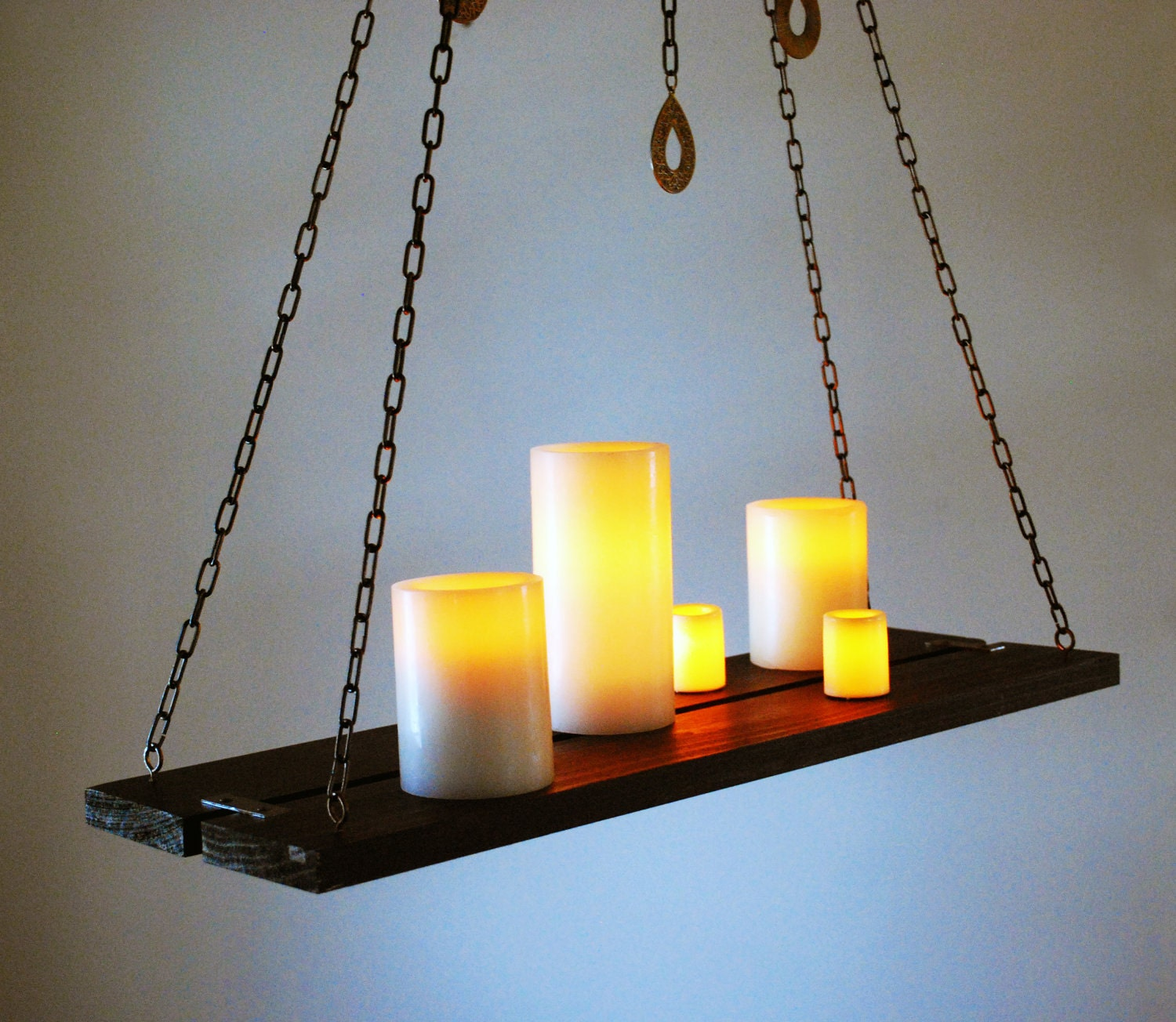 Wood Chain Hanging Candle Holder Chandelier By