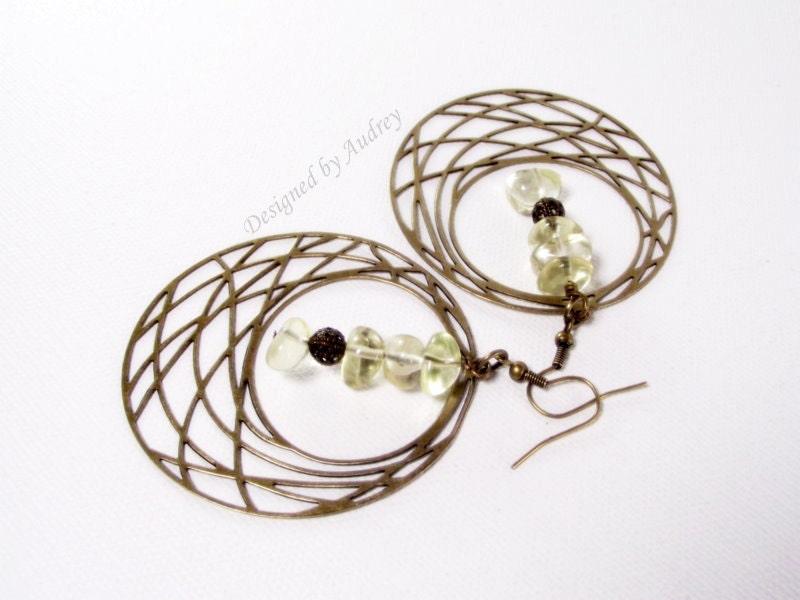 Hoop Earrings Dramatic Lemon Quartz Beaded Hoop Earrings In Antique