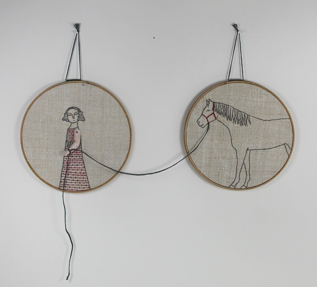 Hand embroidery hoop art girl and her horse by