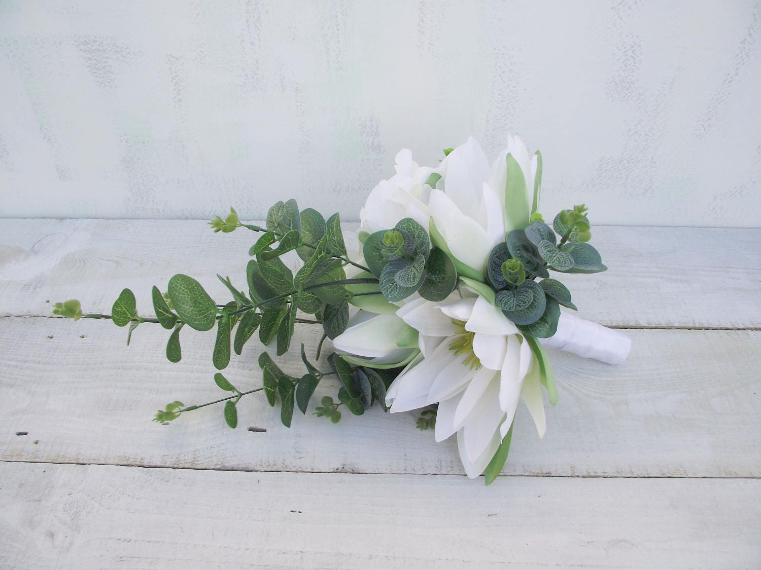 Image of Wedding flowers round posy bridal bouquet artificial silk flowers white ivory water lily amaryllis wedding bouquet artificial bouquet
