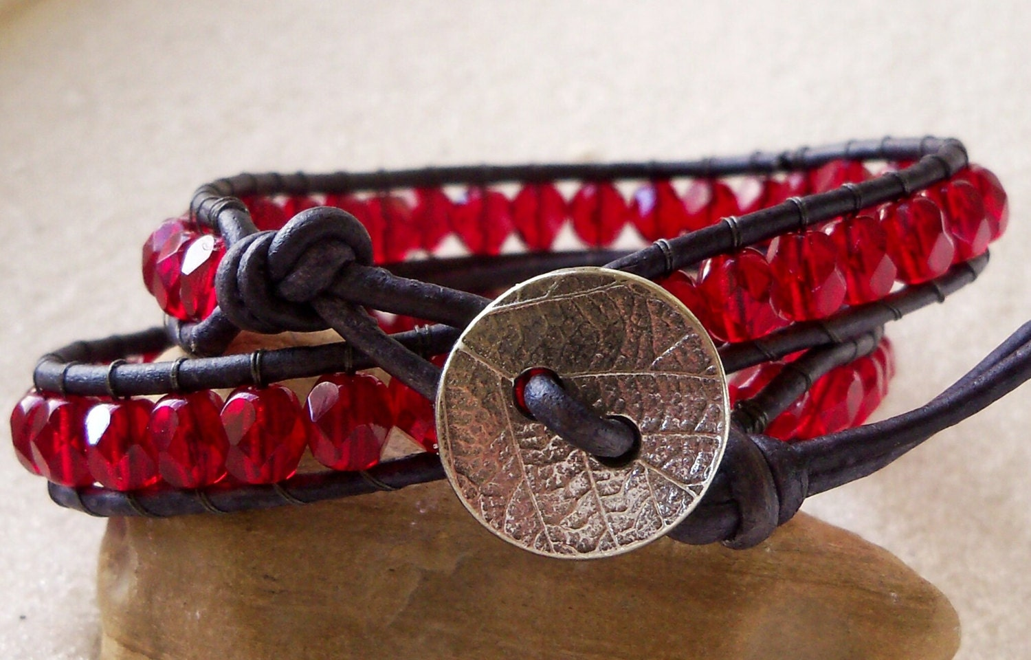 Black and Red Double Wrapped Leather and Bead Bracelet, Czech Glass - mompotter