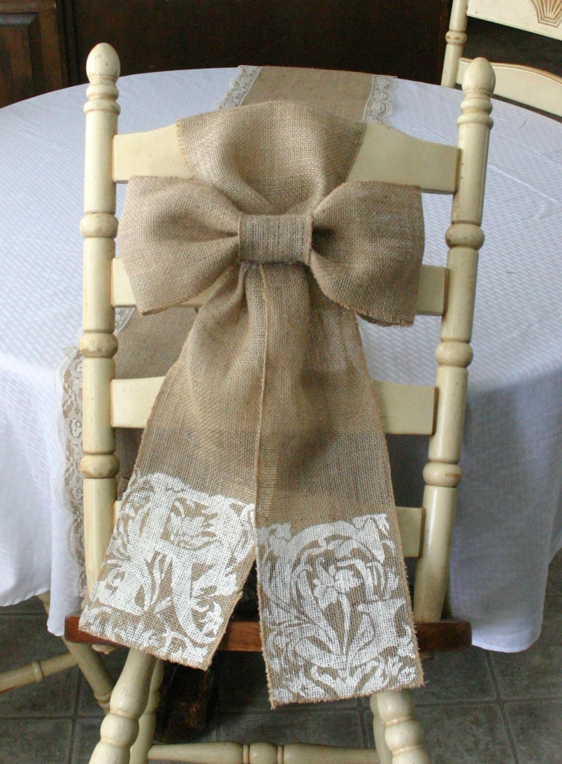 TWO Burlap pew bows shabby chic country chic by Bannerbanquet