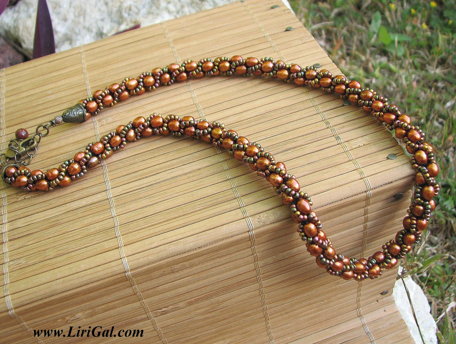 Copper Beaded Crocheted Choker.