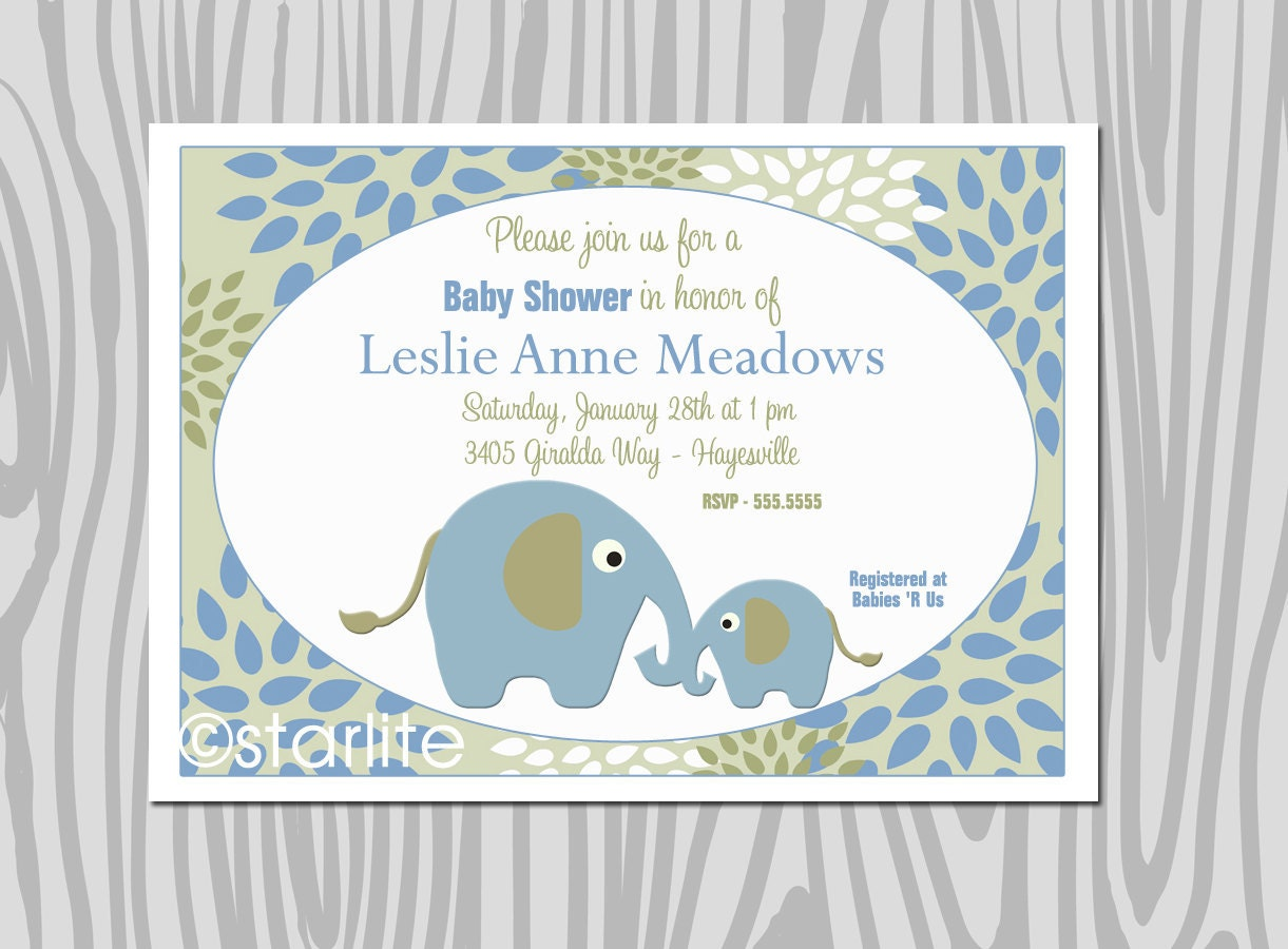 baby shower invitations elephant theme sage green and blue baby