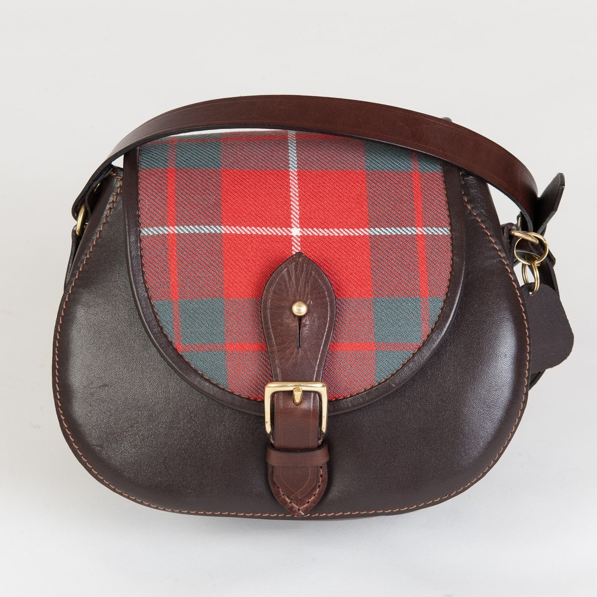 Leather saddlebag tartan saddlebag tartan handbag made in Scotland Scottishstyle handbag Scottish shoulder bag