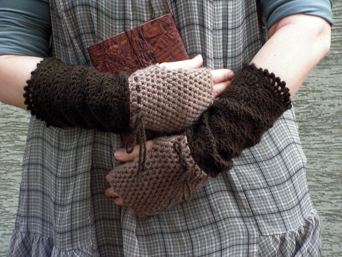 FREE Shipping Warm Beige Afternoon - crocheted open work lacy two colors mittens fingerless gloves - hypericumfragile