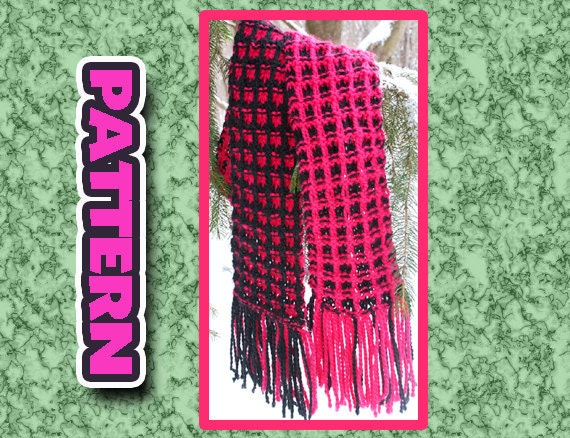 Two Colour Scarf Knitting Pattern : Items similar to PDF two color KNIT SCARF Pattern/ quick knit super soft easy...