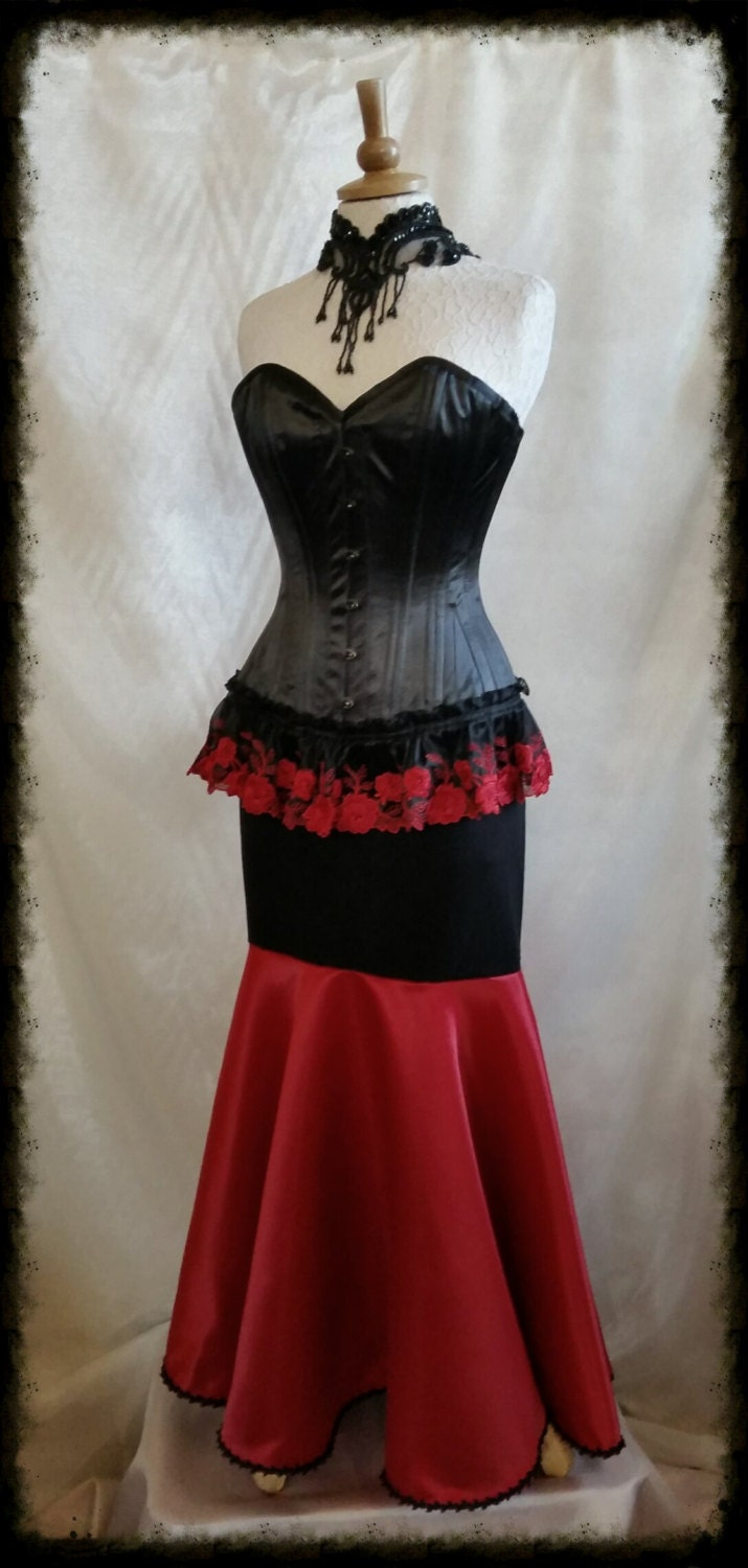 SALE  Overbust Corset  22 inch waist   Steampunk Corset Lace  Gothic By Gothic Burlesque