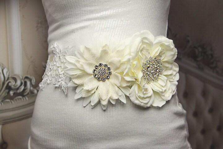 Ivory Cream Lace Bridal Sash - Rustic Brooch Sash -Elorah