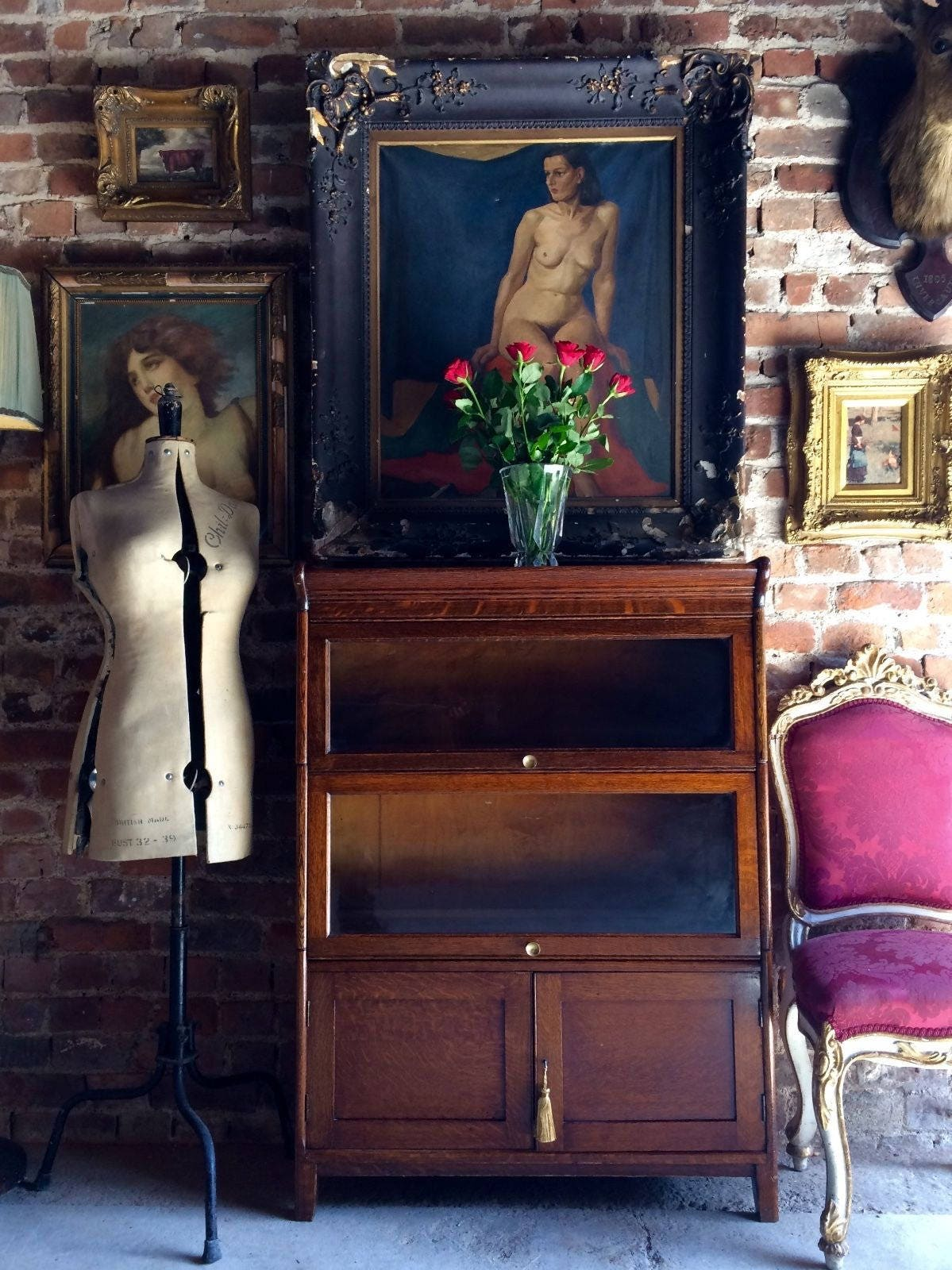 Beautiful Antique Bookcase Gunn GRM Cabinet