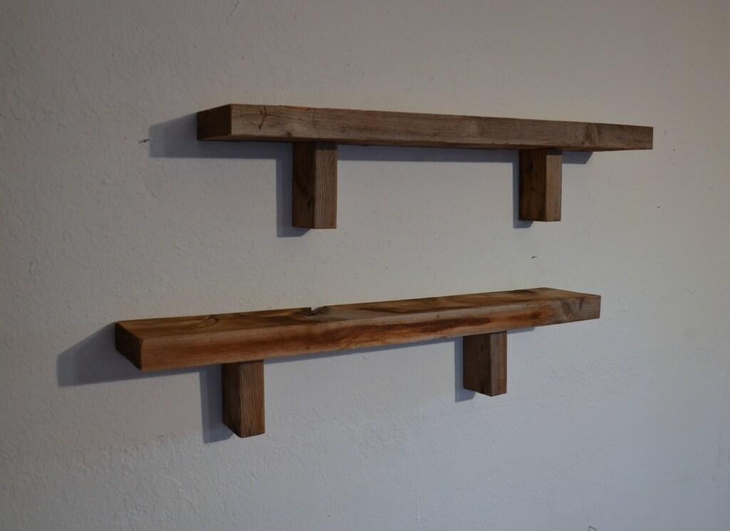 reclaimed wood shelves rustic pair 29 x 6 x 5 by barnwood4u. Black Bedroom Furniture Sets. Home Design Ideas