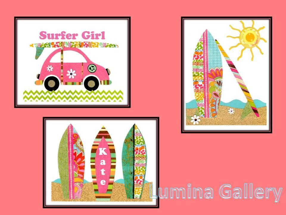 Surfboard girl wall art beach nursery print by luminagallery for Surf nursery ideas