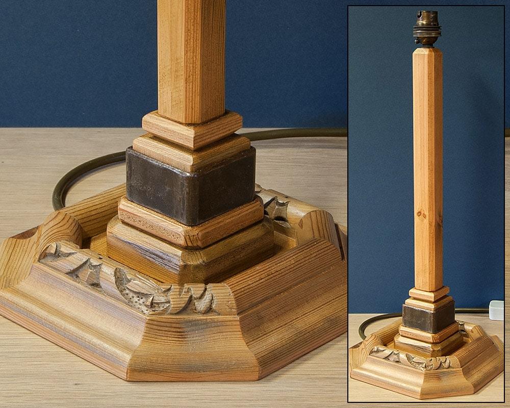 Antique Pine Table Lamp  Rustic Wood  Metal Stem Table Lamp