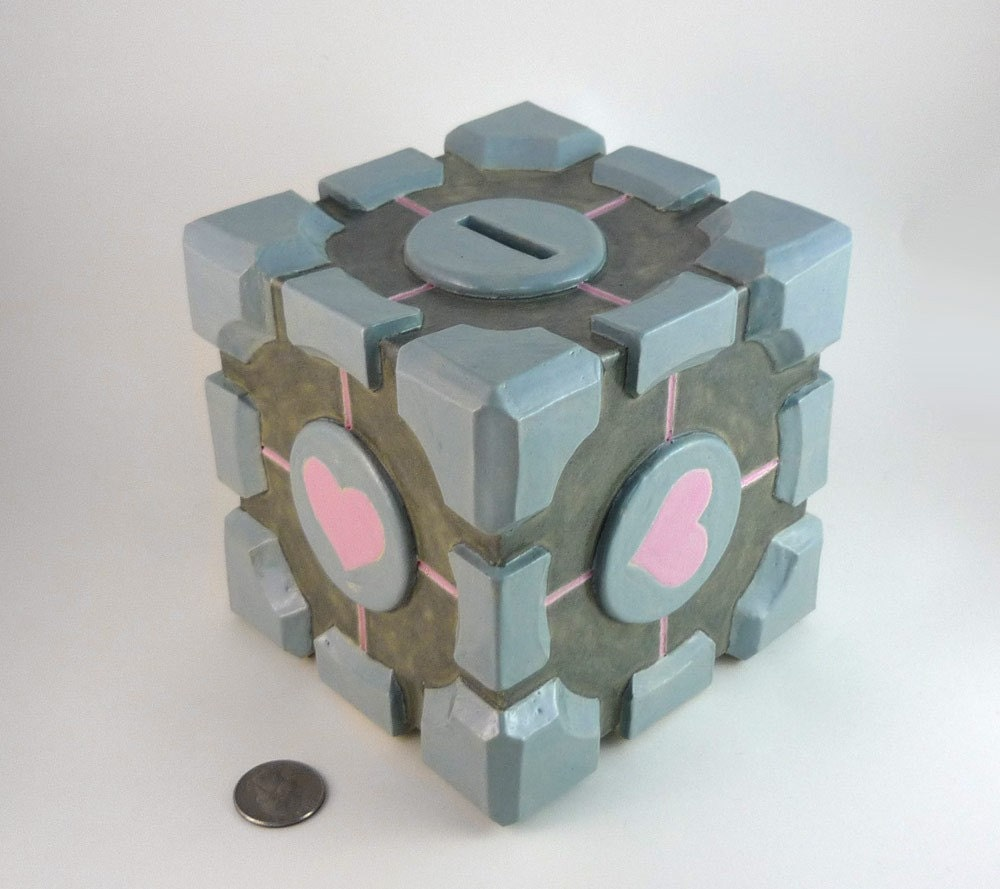 The companion cube handmade ceramic coin bank by jadeflower for Handmade coin bank
