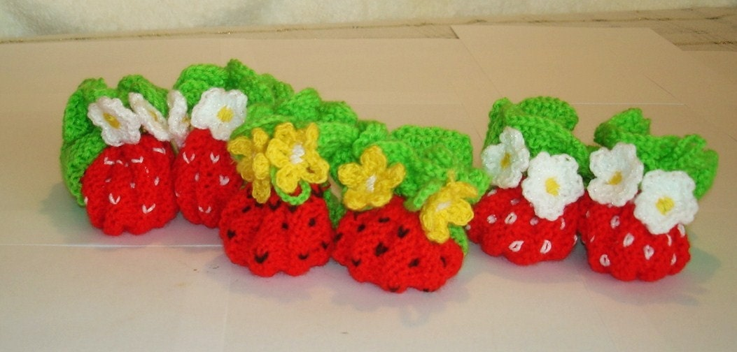 Knit and crochet  baby booties strawberry  sizes 0-3-6-12 mo