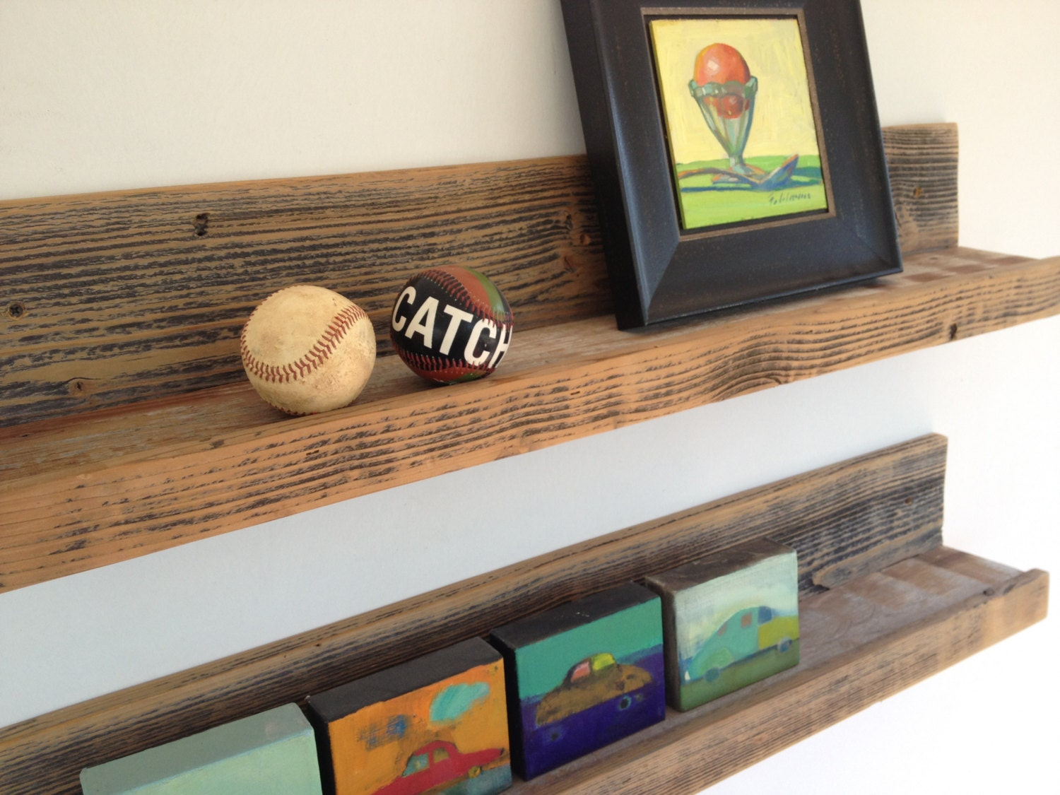 Two 30 Inch Rustic Wall Mounted Wood Shelves By Revetro