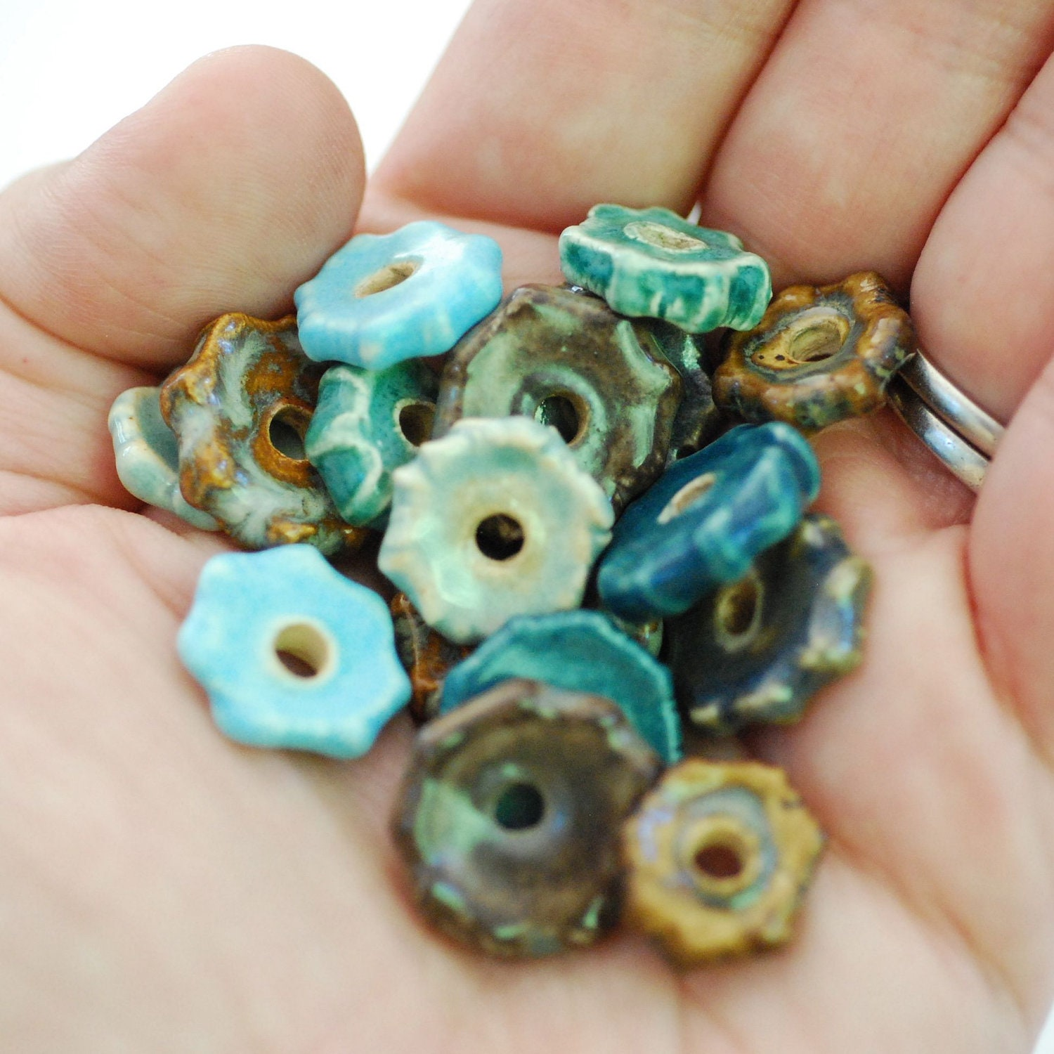 Ceramic Disc Bead Sets 8 Pairs Made To Order You PIck The Color Palette