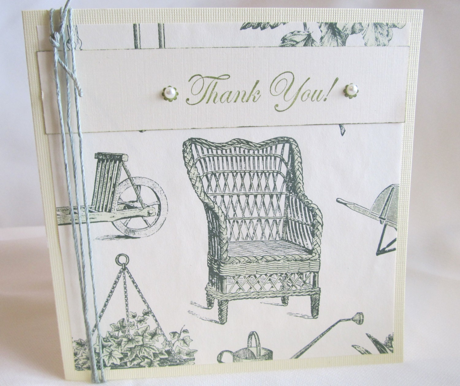 Thank You Card - Handmade Thank You Card - Hand Stamped Card - Cottage Chic Style Card - Pale Yellow Card - Garden Theme Card - Rustic Chic - PrettyByrdDesigns