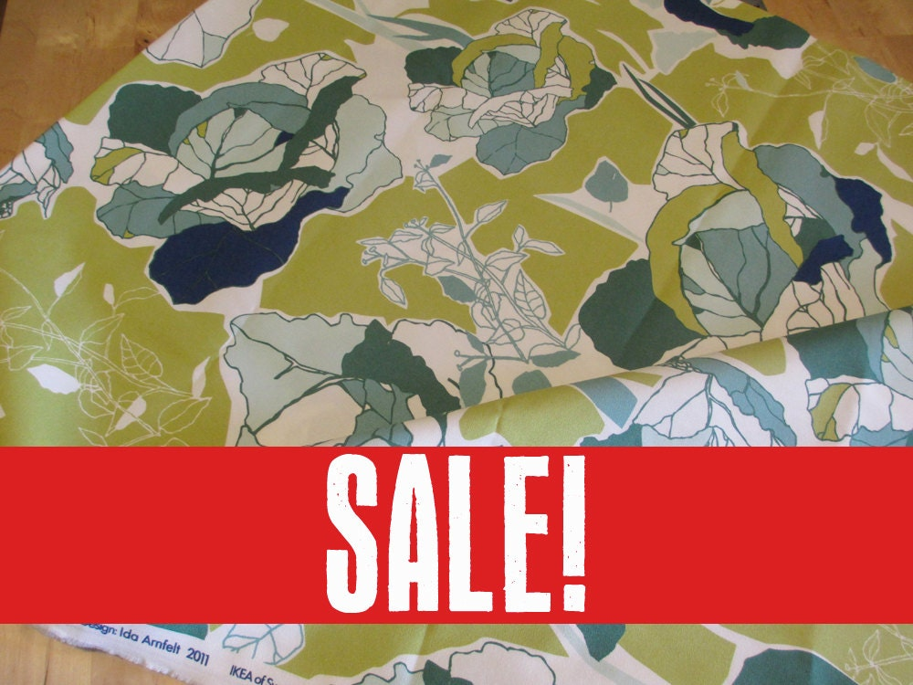 sale 20 off ikea janette green cotton fabric 1 by