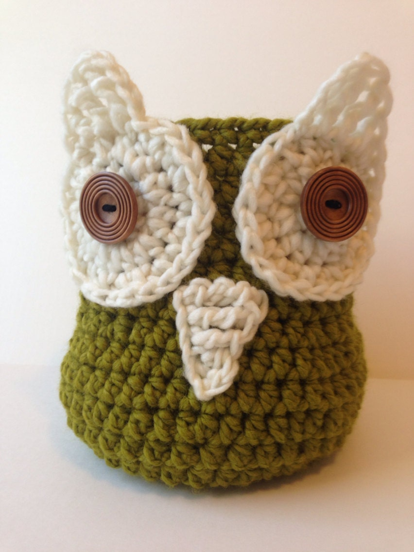 Crochet Owl Basket : Owl basket, crochet owl basket, basket, crochet basket, owl decor ...