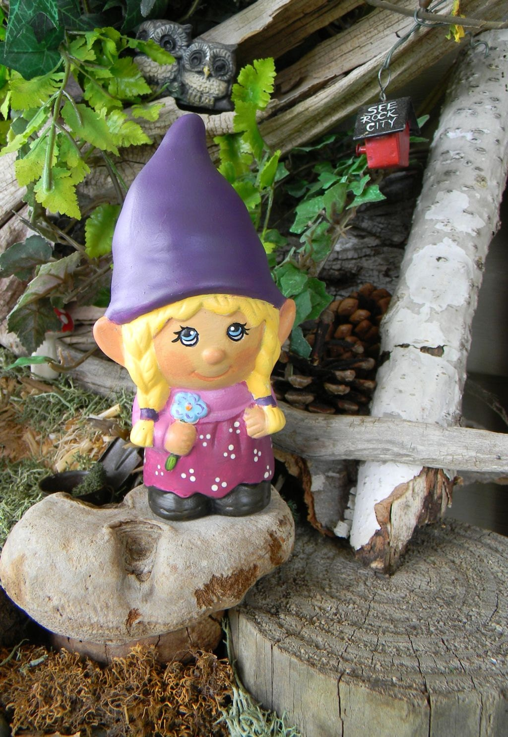 Garden Gnome Ceramic Girl Lady Miss Gnomer By