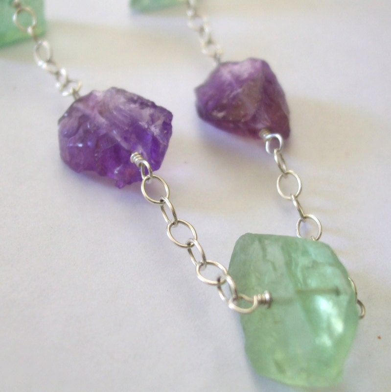 Raw Gemstone Necklace Amethyst Nugget Necklace Uncut Green Fluorite Chunky Necklace