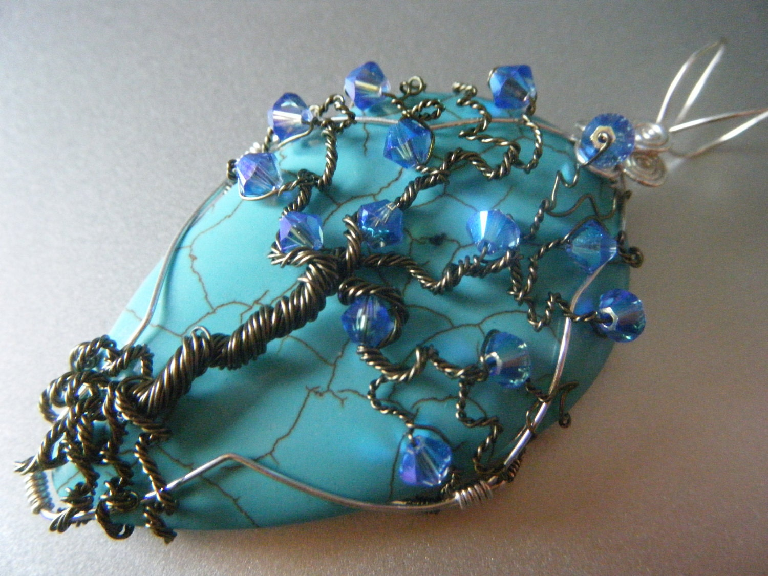 Avatar Home Tree of Life Pendant - Turquoise and Sapphire Swarovski Crystals - Blue Ocean Pendant