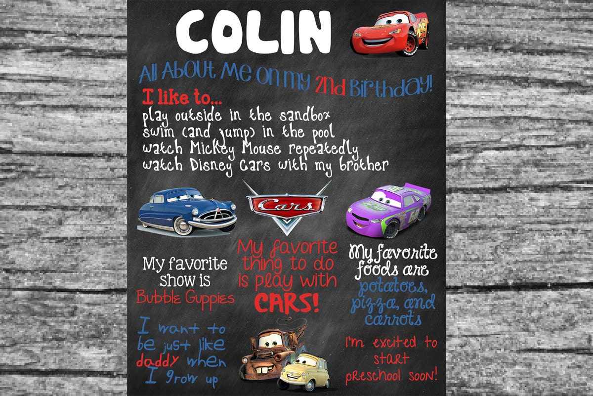Custom Cars Theme Birthday Board Poster Sign 16x20