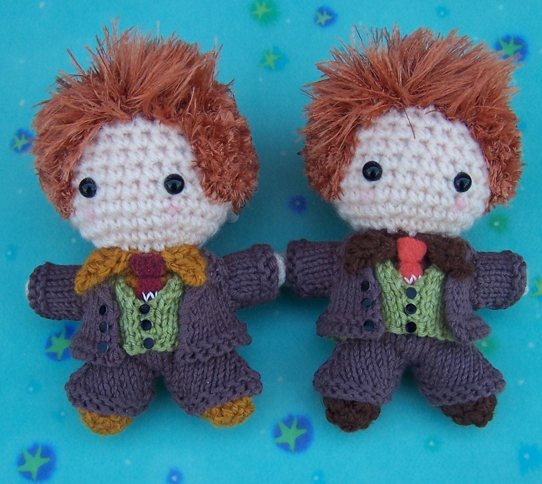 FRED  GEORGE WEASLEY Twins Harry Potter Amigurumi Crochet Art Doll Mixed Media Hogwarts Gryffindor Spell Book Magic Wand