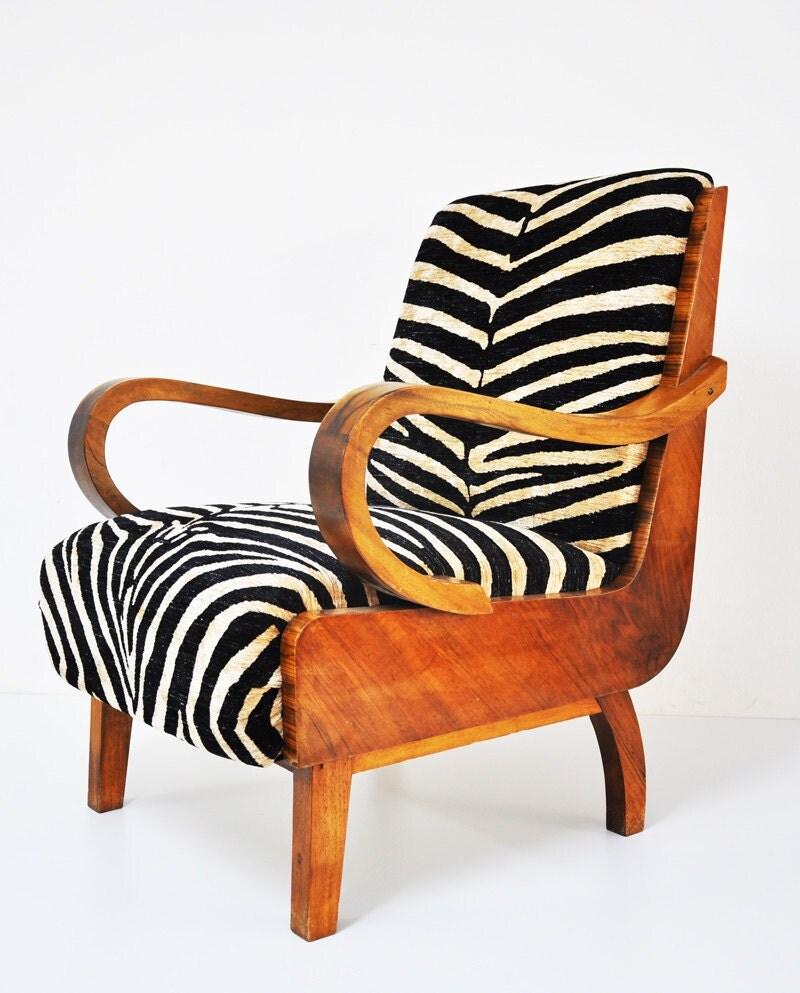2 zebra walnut armchairs